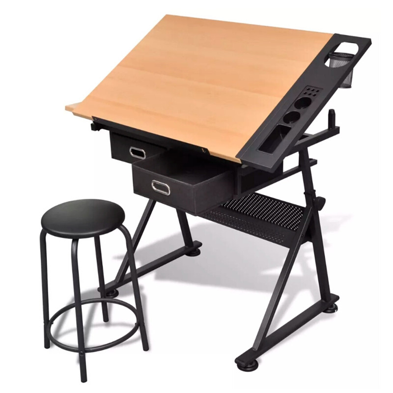VidaXL Durable And Stable Two Drawers Tiltable Tabletop Drawing Table With Stool Feel Comfortable While Working
