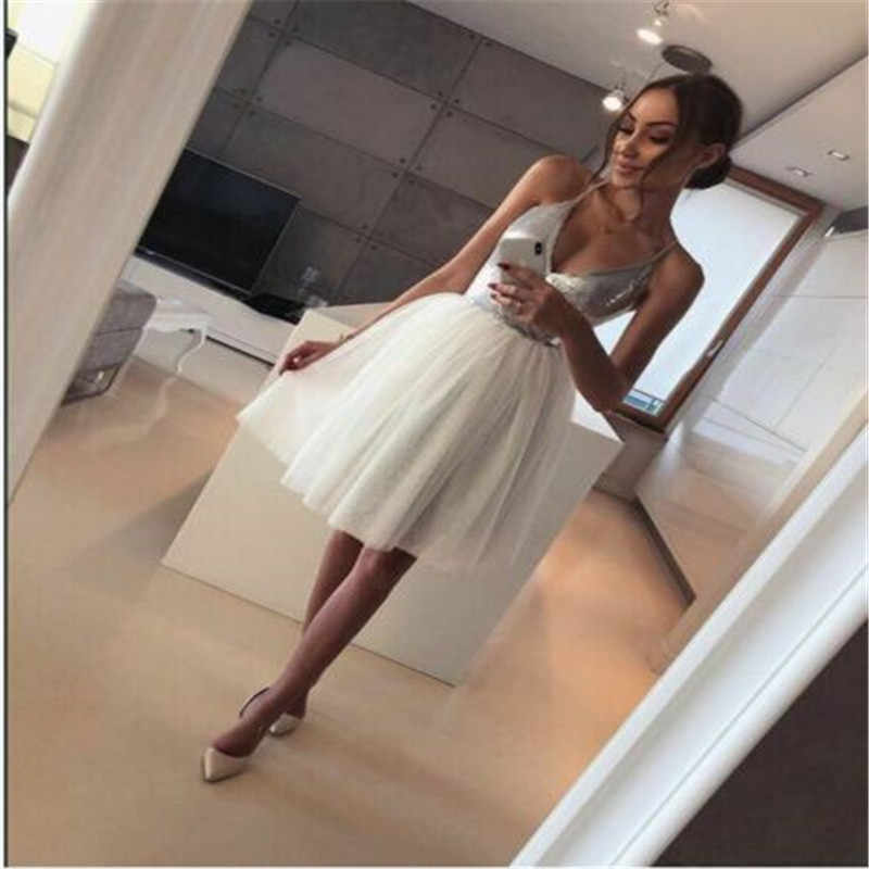 Newest Women Sequin Tulle Dress Party V-neck Shiny Cocktail Wedding Evening Mini Lace Short Dress