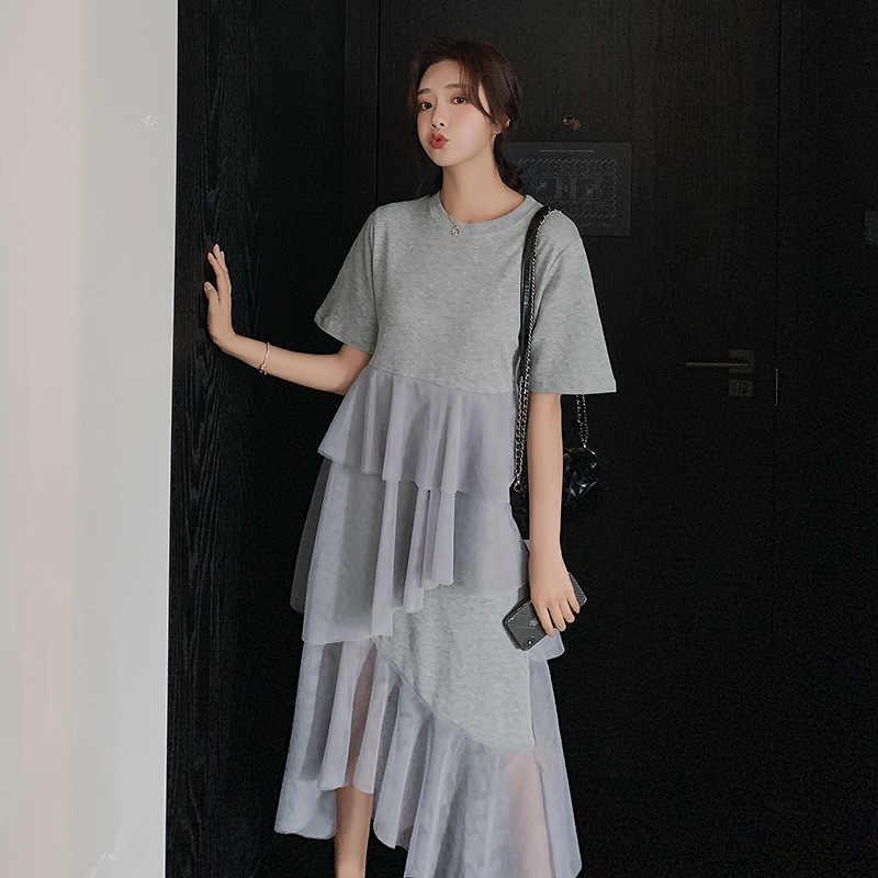 LANMREM 2019 Новое модное летнее платье с коротким рукавом и сеткой в стиле пэтчворк для женщин, Корейская трендовая одежда YG798