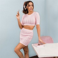 Slaygirl Knitted Sexy Two Piece Set Crop Tops And Mini Pencil Skirt Autumn 2 Piece Set Women SweaterOutfit Conjunto Feminino