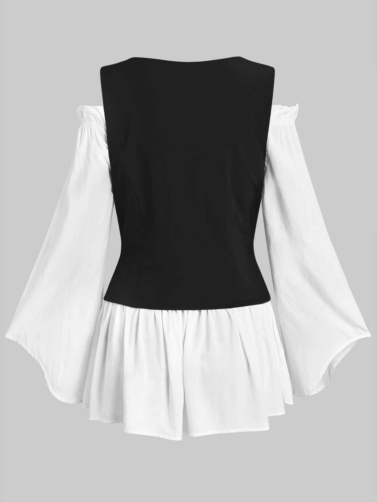 Wipalo ファッションレディースオフショルダーブラウスとレースアップチョッキセット夏フレアスリーブチュニックブラウス女性衣類ビッグサイズ