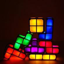 Lámpara LED de escritorio apilable de Tetris, luz de noche de bloques de construcción, Retro, torre de juego, juguete de bloques coloridos para bebés