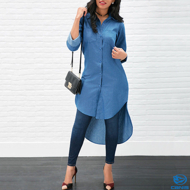 New Women Casual Long Denim Blouse Long Sleeve Fashion Shirt Loose Tops Long Maxi Dress Summer Clothing vestidos ropa mujer