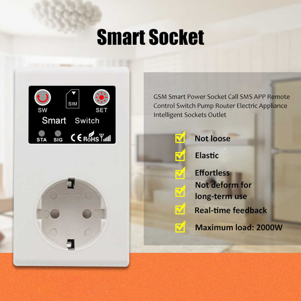 GSM умная розетка вызова SMS приложение дистанционное управление переключатель насос маршрутизатор электрический прибор интеллектуальные розетки