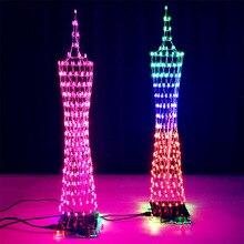Leory diy 3d led 라이트 큐브 키트 diy 용접 열정에 대 한 원격 제어와 16*16 led 음악 스펙트럼 diy 전자 키트