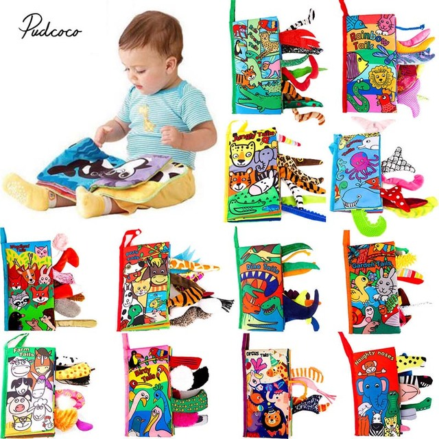 Best Education Books 2019 Kids 3D Animal Tails Cloth Book 2019 New Baby Puzzle Toy