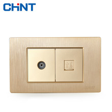 CHINT Electric 118 Type Switch Socket NEW5D Brushed Gold Embedded Steel Frame Two Position TV Telephone