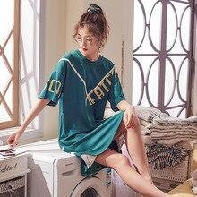 2019 Women Night Dress Casual Short Sleeve Summer Loose Letter Nightdress Cute Nightwear Sweet Nightgown Soft Home Sleepwear недорого