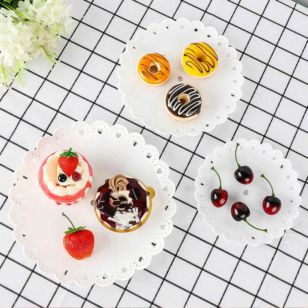 3 camadas de plástico bolo suporte festa de aniversário decoração chá da tarde casamento pratos festa talheres sobremesa rack armazenamento vegetal