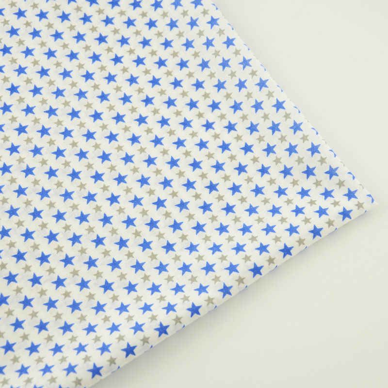 Cotton Fabric Home Textile Sewing Fabric Beige Printed Blue and Gray Star Designs Cloth Dolls Tecido Tela Plain Crafts Patchwork