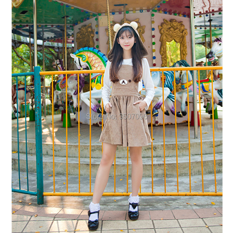 Lolita Suspender Skirt Japanese Anime Rilakkuma Corduroy Overall Vest Jumpsuit Cosplay Skirt Girls Harajuku Sleveeless Skirt