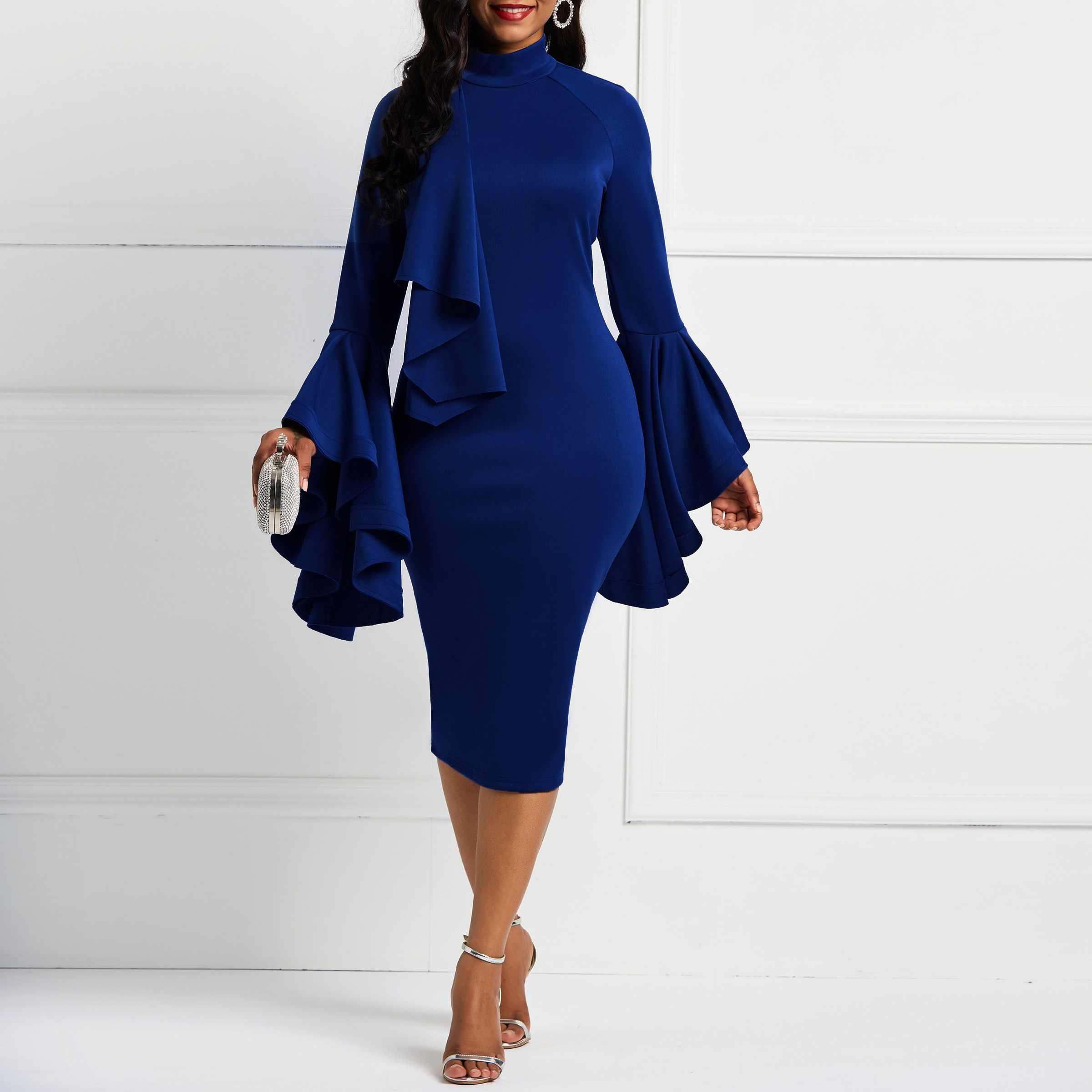 8e2263afe161 Women Long Flared Sleeves Bowknot Knee-Length Bodycon midi Dresses Elegant  Female Navy Christamas Party