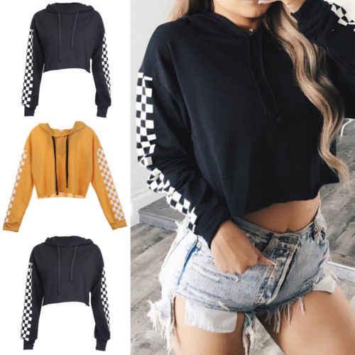 แฟชั่น S-XL ผู้หญิง Hoodie ลายสก๊อตสั้นเสื้อกันหนาวจัมเปอร์เสื้อ Crop top Coat Pullover Tops เครื่องแต่งกาย