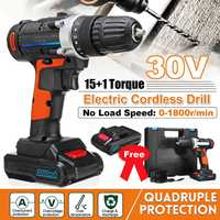 Multi function 30V Electric Cordless Drill Rechargeable Power Drill Driver Wireless Electric Screwdriver with 2 Li ion Batteries