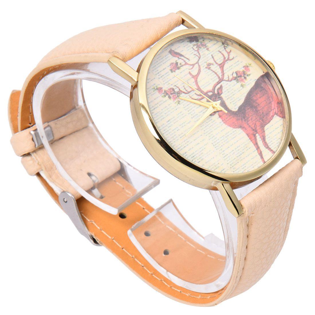 neutral Plum flower Deer Leather belt Quartz watch 1