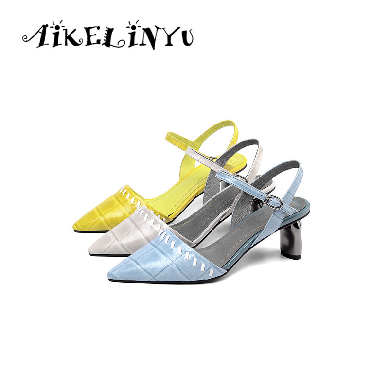 AIKELINYU Summer Grace Genuine Leather Sandals Pointed Toe Yellow Blue Heels Shoes Woman High Quality Party Lady Pumps