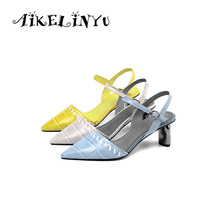 AIKELINYU Summer Grace Genuine Leather Sandals Summer Pointed Toe Yellow Blue Heels Shoes Woman High Quality Party Lady Pumps bonjomarisa 2018 summer sweet genuine leather sandals flower appliques shoes woman high thin heels party wedding lady shoe