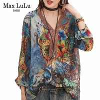 Max LuLu 2019 Fashion Korean Style Ladies Lace Tops And Blouses Womens Floral Chiffon Shirts V Neck Blusas Female Gothic Clothes