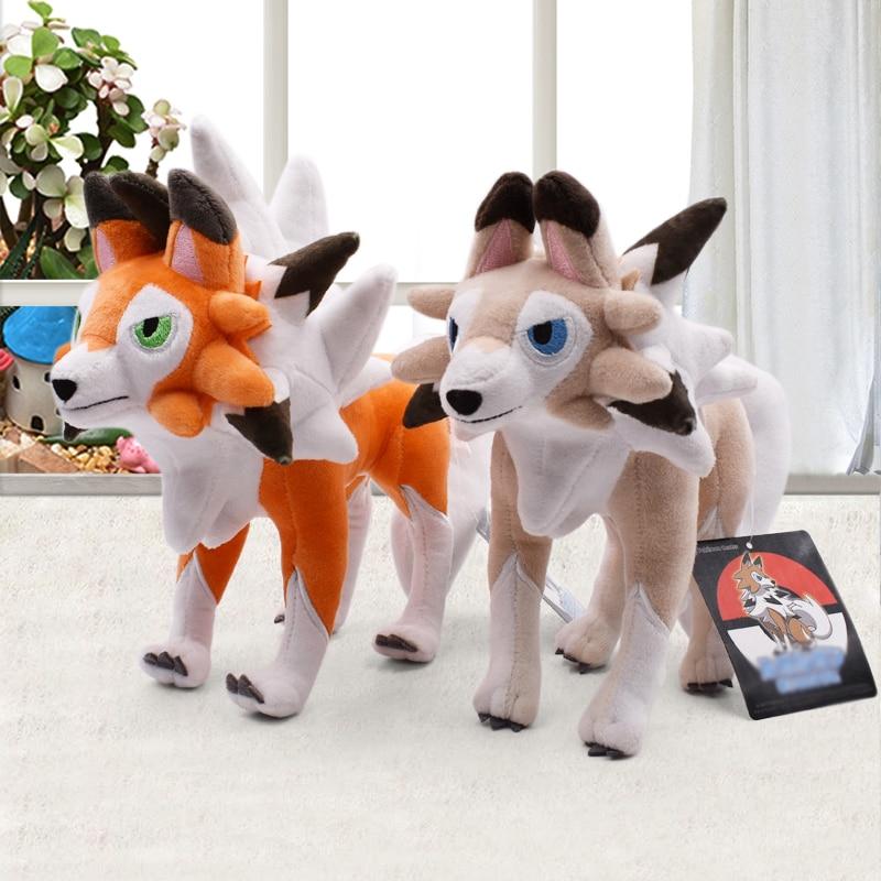 23*27cm 2Style Lycanroc Peluche Dolls Soft Cartoon Plush Toy PP Cotton Stuffed Dolls Gift For Children Christmas Gift