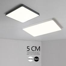 Minimalist Black/white Art Modern Led Chandelier For Living Bedroom Kids Room Home Indoor Ultra Thin 5cm Fixture