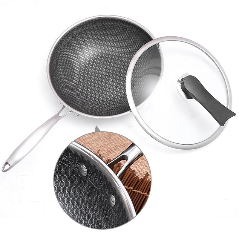 Casserole en acier inoxydable poêle antiadhésive sans fumée d'huile fond plat maison marmite cuisinière à gaz cuisine fournitures livraison rapide
