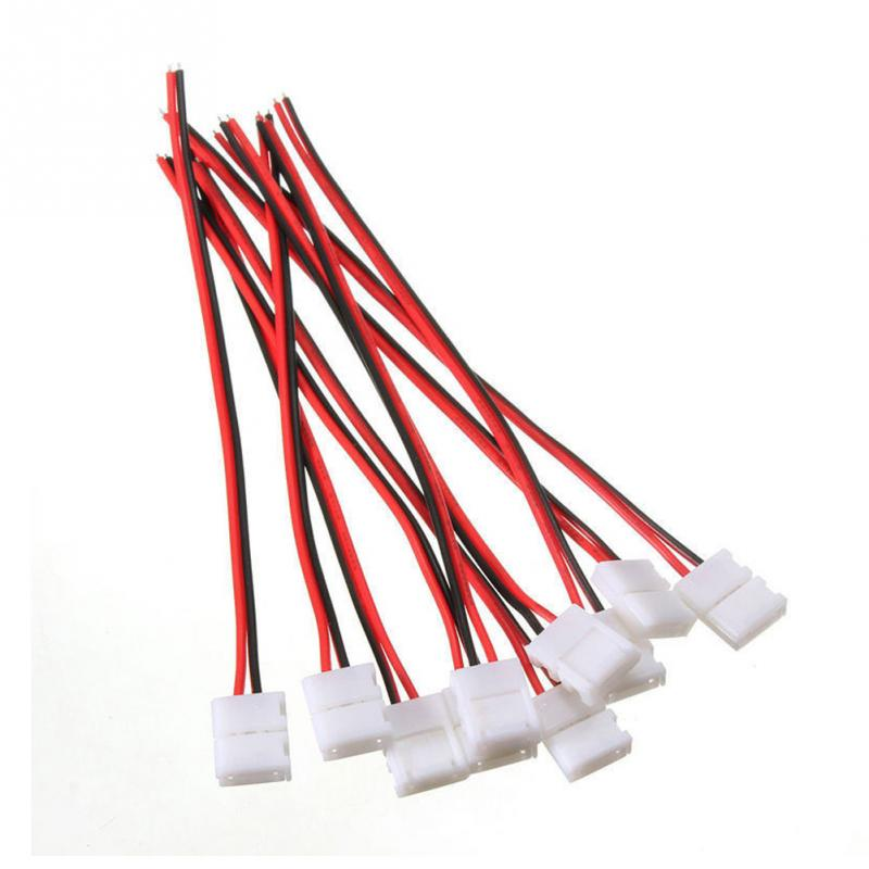 10PCS 2-Pins Power Connector Adaptor For 3528/5050 Led Strip Wire With PCB 8mm/10mm