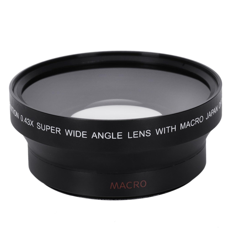67 MM 0.43X Macro Grand Angle Lentille Macro pour Nikon D200 D100 D2H D80 D50 D70 D70S D90 Canon 550D 600D 650D 1100D 5DII 7DII