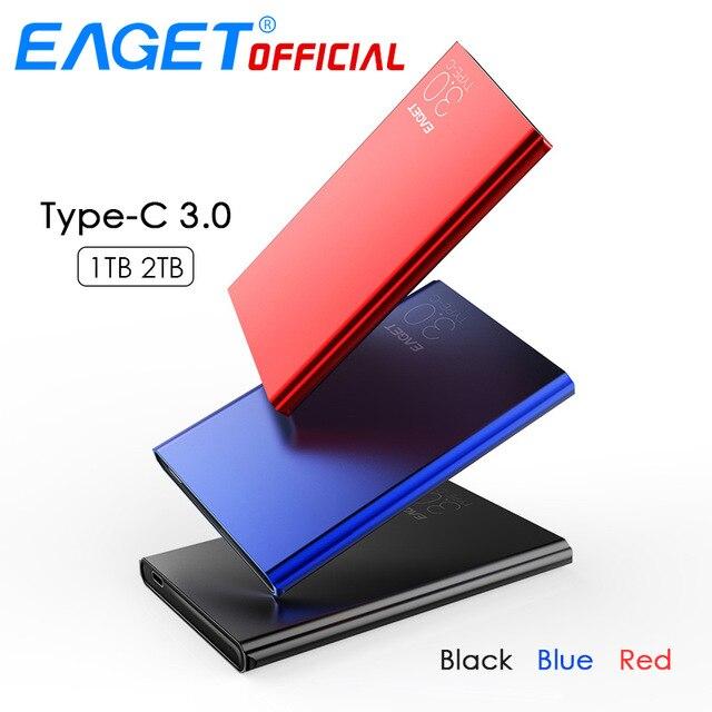 EAGET Externe Disques Durs 2 tb 1 tb HDD 2.5 pouce Haute Vitesse Type C 3.0 Disque Dur Ultra- mince USB C Mobile HDD pour Ordinateurs Portables De Bureau