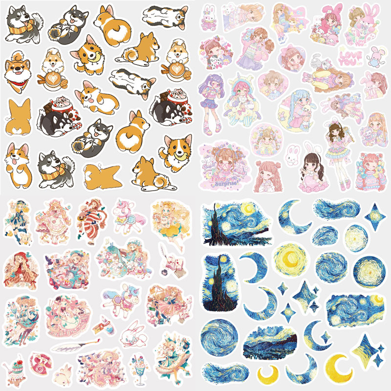 1Bag Cute Stickers Creative Van Gogh Stickers Kawaii Adhesive Paper Stickers For Kids Girls Gift School Supplies Stationery