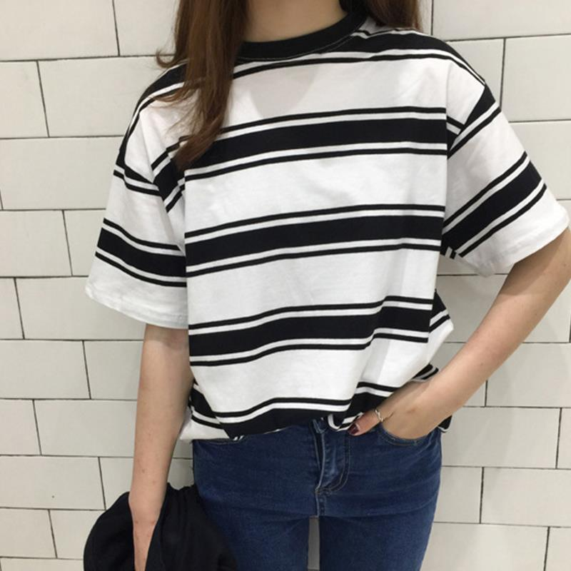 Harajuku Summer New Women T-Shirt Black And White Stripes Short Sleeve O-Neck Loose Top Tees Casual Student T-Shirt For Girl