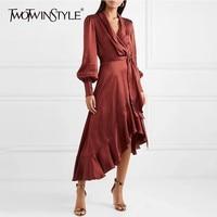 TWOTWINSTYLE Satin Dress Female Lantern Long Sleeve Lace Up Asymmetrical Ruffle Hem Black Midi Dresses Women Autumn 2018 New