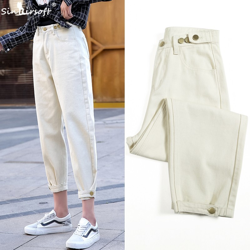 2019 Beige Jeans For Trousers Joggers Women High Waist Harem Mom Jeans New Loose Vintage Plus Size Black Women Jeans Denim Pants in Pants amp Capris from Women 39 s Clothing