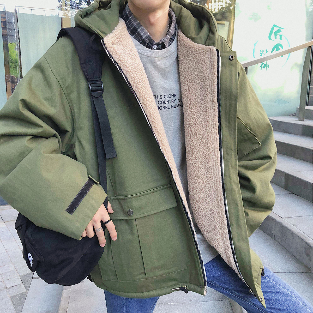 ec3d20e8700 2018 Winter Japan Style Men s Brand Casual Parkas Lamb Wool Coats Loose  Snow Jackets In Warm Cotton-padded Clothes Size S-XL