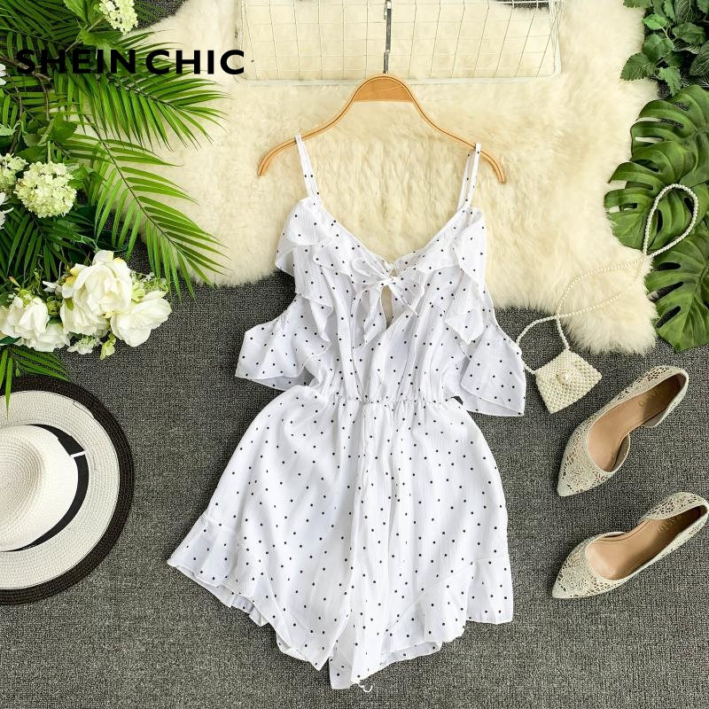 Bohemian Summer Vacation Women Rompers Elegant White Black Blue Red Polka Dot Ruffles Chic Playsuits Female Loose Jumpsuit
