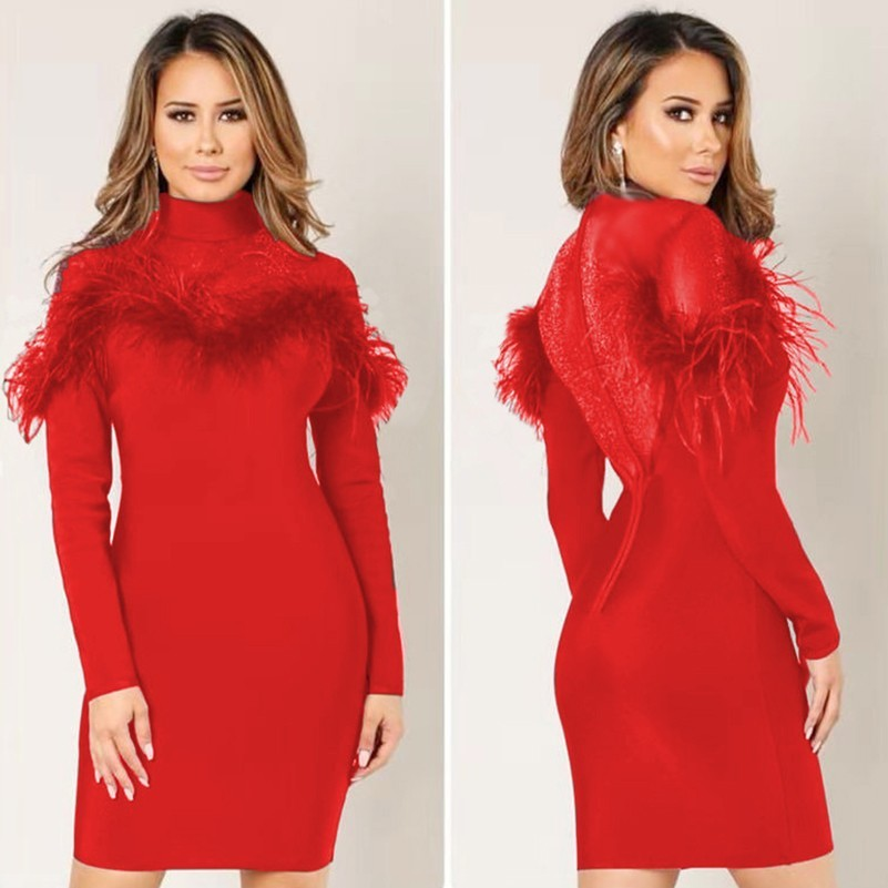 Fashion Red Long Sleeve Feather Mesh Nail Pearl Sexy Women Party Bodycon Black Dress Vestidos Dresses Ukraine Clothes Harajuku