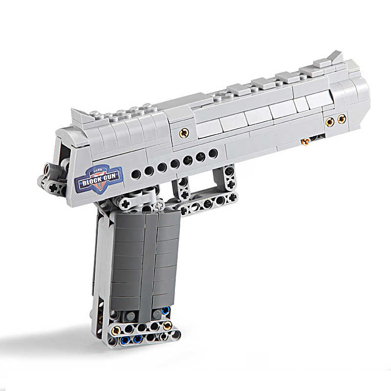 اللبنات مجموعة ألعاب الصحراء النسر مسدس لعبة للأولاد النار الرصاص تكنيك DIY الطوب مسدس عوزي لعب للأطفال الاطفال