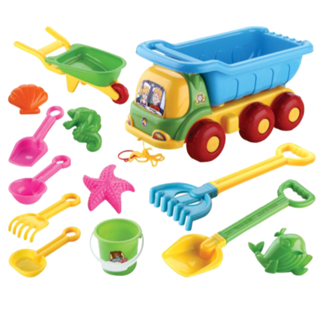 NFSTRIKE 13Pcs Children Outdoor Beach Sand Toy Set Beach Bucket Shovel Wheelbarrow Playset - Color Random
