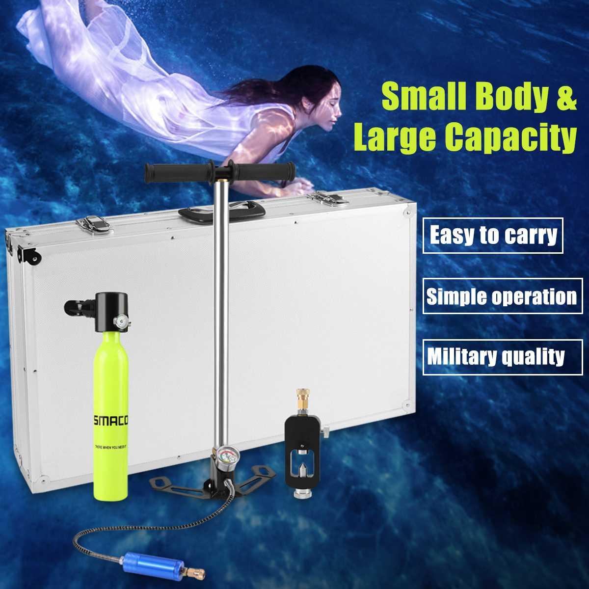 Mini équipement de plongée sous-marine réservoir d'oxygène de rechange en alliage d'aluminium Silicone liberté totale souffle sous l'eau pendant 5 à 10 minutes