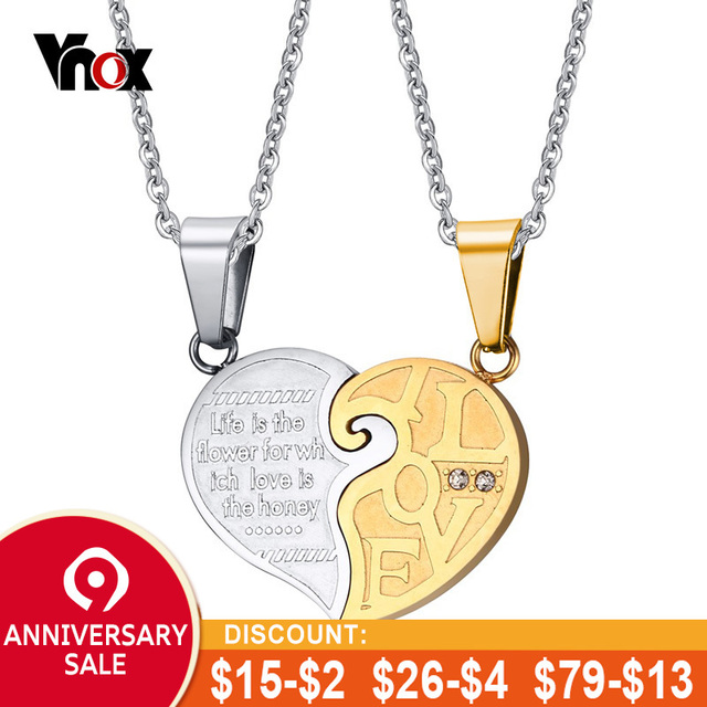 bbc22e14ed Vnox 2pcs/lots Heart Necklace Pendant Set His & Hers Couple Jewelry  Stainless Steel Best Friend Jewelry