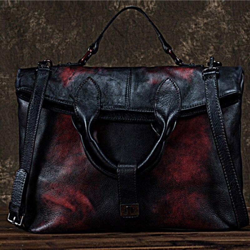 Wysokiej jakości skóra naturalna kobiety Messenger torba na ramię w stylu Vintage rozrywka duża torba do noszenia przez ramię torebka Top uchwyt torby z prawdziwej skóry w Torby z uchwytem od Bagaże i torby na  Grupa 1