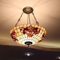 European Tiffany Ceiling Retro Shell Mediterranean Sea Pastoral Pendant Lights Luminaria Teto Ceiling Lamps For Home Decoration