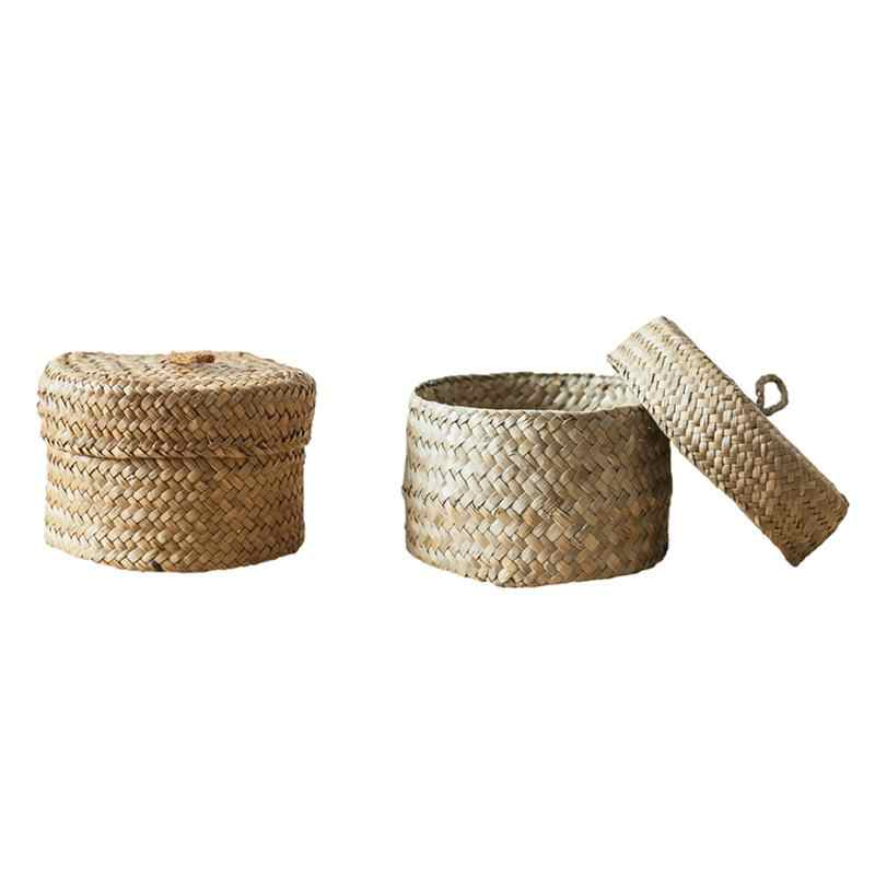 Seaweed Snack Storage Box Handmade Finishing Box With Lid - Woven Wardrobe Desktop Storage Basket Home Round Gift Box