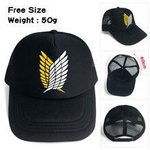 Ataque en Titán Scouting legión negro sombrero de béisbol Snapback ajustar  tapa de malla impresión Sunhat Hip Hop sombrero para . 3984efc73bd