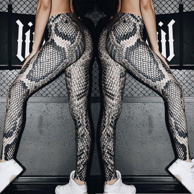 Fashion Causal Slim Women Snake Skin Print Pants Ladies Fitness   Leggings   Run Gym Exercise Sports Trouser Autumn Clothes