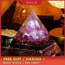 AURA REIKI Orgonite Natural Amethyst Pomegranate Stone Pyramid Improvement Business MineralCrystal Chakra Healing Gift C0047 цена и фото