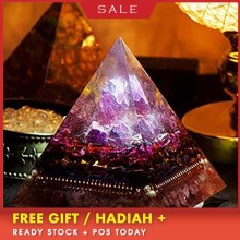 AURA REIKI Orgonite Natural Amethyst Pomegranate Stone Pyramid Improvement Business MineralCrystal Chakra Healing Gift C0047