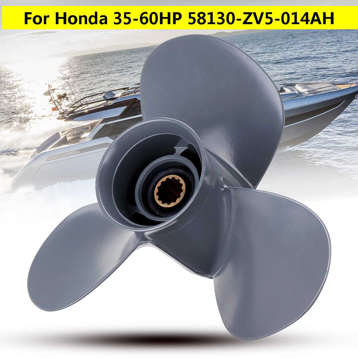 58130-ZV5-000ZA Aluminum Alloy 11 1/4 X 13 Boat Outboard Propeller For Honda 35-60HP Gray 3 Blades 13 Spline Tooth Marine Parts