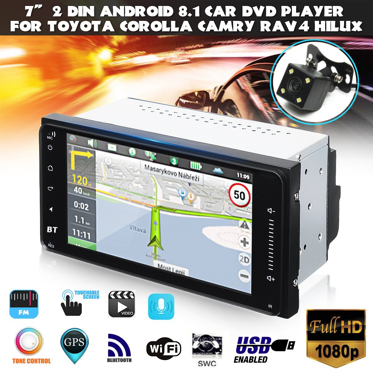 7 2 Din Android 8.1 Universal Car DVD Player WIFI GPS Stereo bluetooth Radio Indash For Toyota Corolla Camry Hilux RAV47 2 Din Android 8.1 Universal Car DVD Player WIFI GPS Stereo bluetooth Radio Indash For Toyota Corolla Camry Hilux RAV4