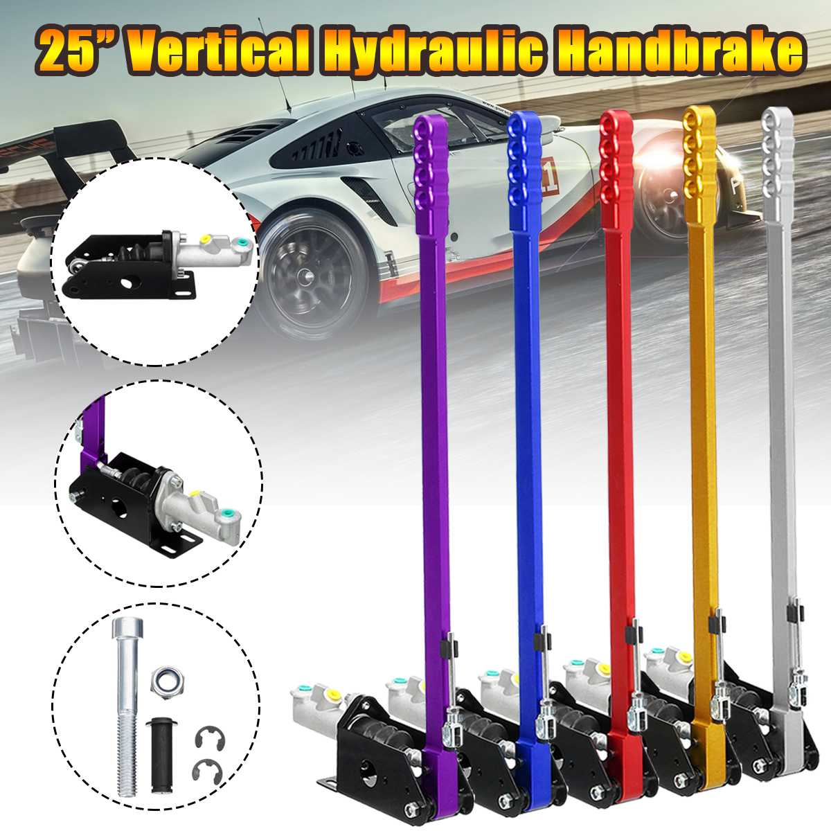 25inch 63cm Long Vertical Hydraulic Handbrake Hydro Race E-brake Drift Rally Lever Gear25inch 63cm Long Vertical Hydraulic Handbrake Hydro Race E-brake Drift Rally Lever Gear