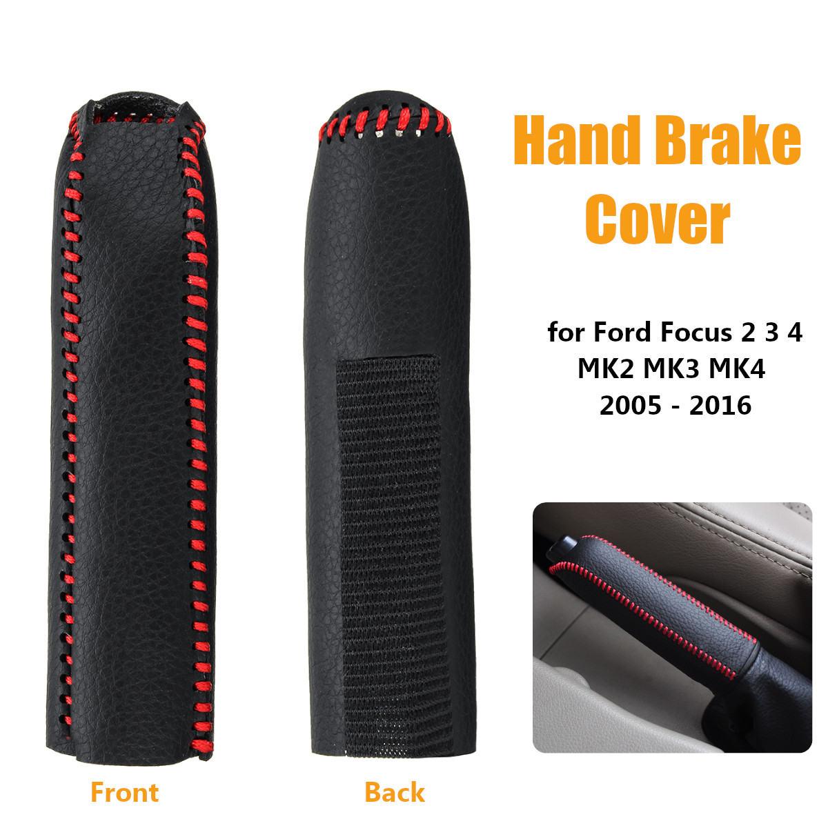 Car PU Leather Hand Brake Grip Cover For Ford For Focus 2 3 4 MK2 MK3 MK4 2005 - 2016